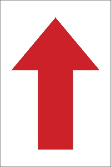 "DIRECTION ARROW,12x8"", RED,ADHESIVE BACK"